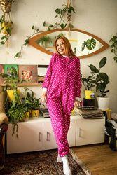Флисовая пижама женская комбинезон 2 цвета, 42-54, рост 150-190см