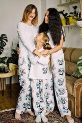 Хлопковая пижама Панда кофта или футболкабрюки 44-54