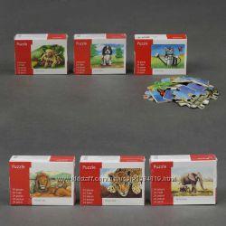 Деревянная игра пазлы животные 16, 5Х12см 24 дет. 6 видов