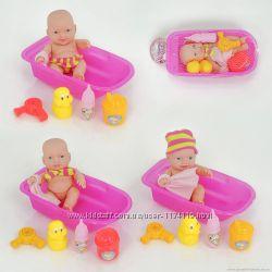 Пупс в ванночке с аксессуарами 2 вида в сетке