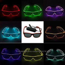 Неоновые очки с подсветкой disco солнцезащитные одноцветные разные цвета