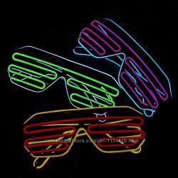 Неоновые очки с подсветкой disco неон светящееся двухцветные разные цвета