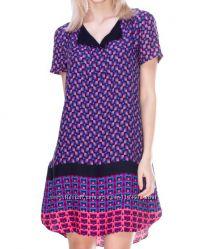 Фиолетовое платье туника с интересным орнаментом promod pp S36