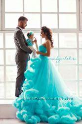 Платье-облако. Платье прокат, в аренду, на час, на фотосессию, мама-дочь