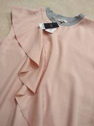 Блуза Next размер 14XL с воланом пудрового цвета