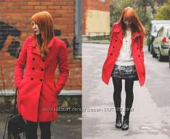 Красное пальто Zara оригинал s-m