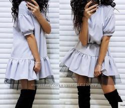 свободное платье с фатиновой юбкой Выбор цвета