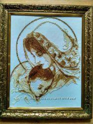 Картина Мадонна з немовлям вишита чеським бісером