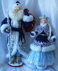 Дед Мороз и Снегурочка куклы ручная работа