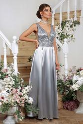 Платье вечернее, макси, низ -атлас, верх из сетки-вышивки