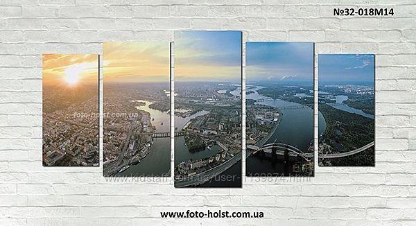 Модульная картина город Киев, панорама, без часов или с часами
