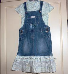Комплект MOTHERCARE джинсовый сарафан и блузочка. 7-8 лет