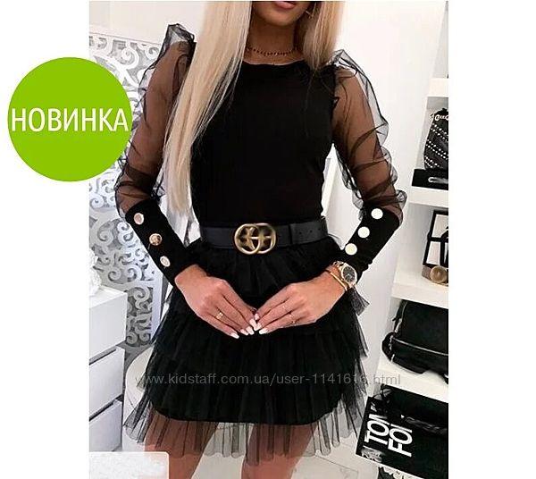 Женская блузка с прозрачными рукавами и пуговицами Лозанна