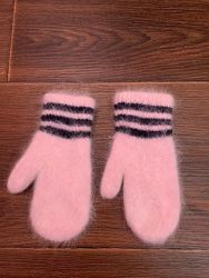 Тёплые ангоровые рукавицы варежки 3-4 года, Корея