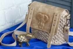 Эксклюзивная сумочка из трикотажной пряжи и натуральной кожи, ручная работа