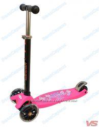 Трехколесный самокат ECOLINE ONEX розовый светящиеся колеса