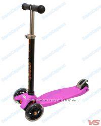 Трехколесный самокат ECOLINE ONEX фиолетовый светящиеся колеса
