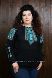 Стильные вышитые блузы больших размеров 42-60р