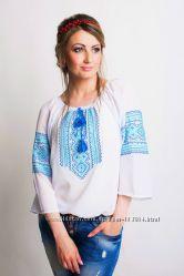 Стильные Белые вышитые блузы из шифона 42-60р