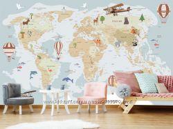 Фотообои, 3D обои, 3Д шпалери, мапа світу