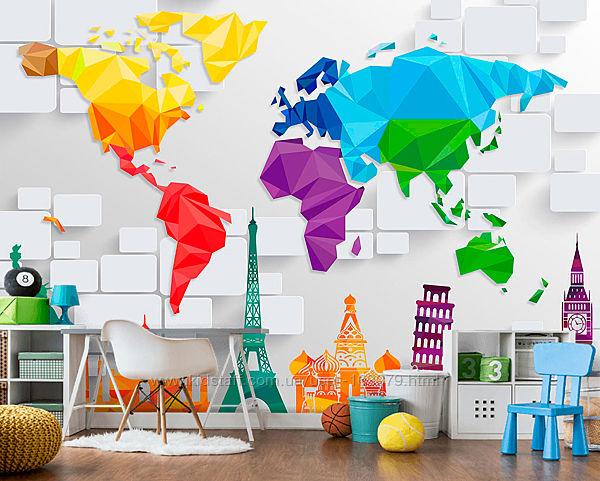 Фотообои Карта мира, фотошпалери мапа світу 3D шпалери
