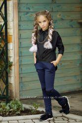 Лосины черный синий Рубашка белый черный  134-152