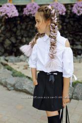 Шорты-юбка чёрный, темно-синий Рубашка белый, бело-голубая полоска 134 -152