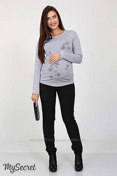 Теплые, прямые брюки для беременных из костюмной ткани с начесом