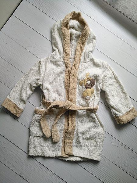 Махровый детский халат с капюшоном 2-4 года