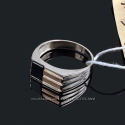 Мужские кольца печатки серебро с золотом