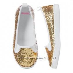 Нарядные золотые туфли мокасины Gymboree Джимбори 2р, 32р-33р 21см стелька