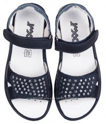 Сандалии босоножки кожаные IMAC для девочки синие с серебром 36р, 37р школа