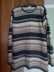 Женский ажурный свитер BHS  тонкой вязки в пастельных тонах. Разм. XL