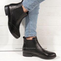 Ботинки кожаные Челси, черные, 5980