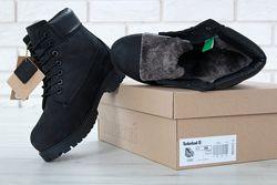 Ботинки зимние Timberland натуральный нубук и мех, черные, 11074