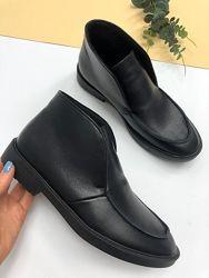 Ботинки лоферы кожаные демисезонные черные, 5221-13