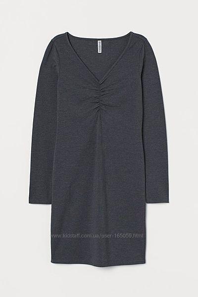 Платье стрейчевое H&M серое, XS