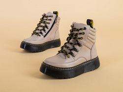 Ботинки кожаные демисезонные бежевые 9301д
