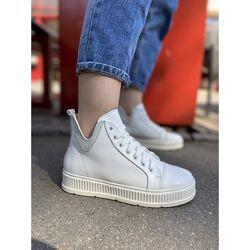 Ботинки кожаные белые демисезонные кеды, vm-em-15b