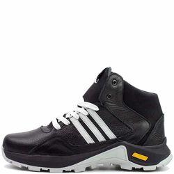 Ботинки зимние кроссовки кожаные черные SAV 561349