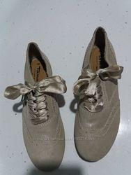 TAMARIS кожаные замшевые туфли на лентах р. 38