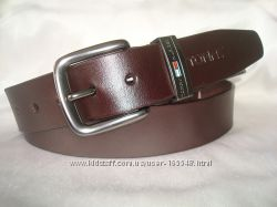 Модный коричневый кожаный ремень TOMMY HILFIGER