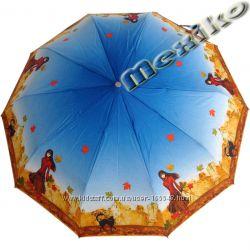Акция. Бесплатная доставка Модный зонт ZEST, полуавт, 10 сп, Девушка с котом