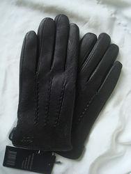 Мужские кожаные перчатки из оленьей кожи, подкладка плюш