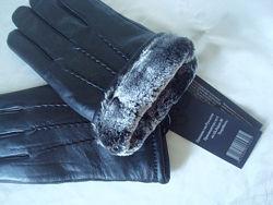 Тёплые мужские кожаные перчатки, подкладка мех, Румыния