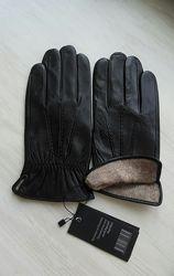 Мужские кожаные перчатки, подкладка шерстяная вязка, Румыния
