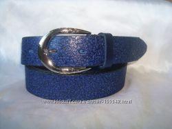 Модный  синий женский кожаный ремень .