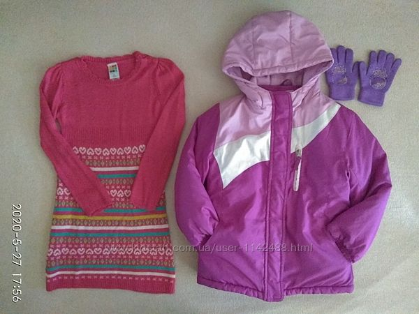 Куртка деми/зима 3 в 1 Хелстекс Xealthtex 5 лет, платье и перчатки