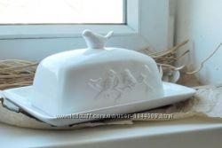 Маслёнка маслянка Птицы керамика Прованс винтаж