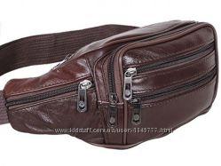 Кожаная сумка на пояс барсетка поясная мужская через плечо бананка кожа